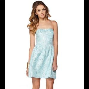 Lilly Pulitzer Blue Silver Payton Sweetheart Dress